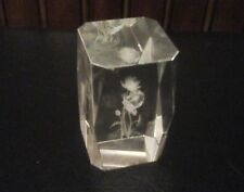 3-D Laser Etched Crystal Glass Paperweight Display Cube, Waterlillies Dragonfly