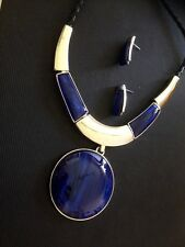 silver necklace and earring set with blue statement pendant handmade new 2016