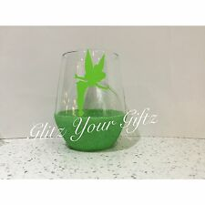 Disney Tinkerbell Fairy Hand Crafted Gift Glitter Tumbler Mixer Glass