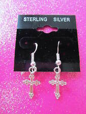 925 STERLING SILVER CROSS DANGLE EARRINGS