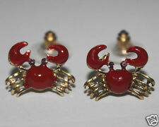 Crystal Red Crab Small Stud Sea Animal Stud Earrings Daily Jewelry Gift