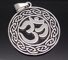 "Celtic Aum Om Hindu Symbol religious Pewter Pendant with 20"" Necklace PP#260"