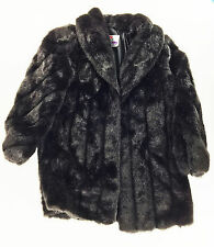 FAUX FUR BLACK WOMEN'S COAT - SIZE 12 MONTEREY FASHIONS Made in the USA