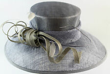 ladies formal sinamay steel pale blue and silver hat wedding races