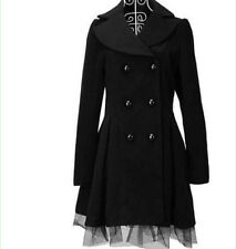 Womens Double-Breasted Lolita Cute Gothic Coat Long Mesh Jacket Princess Parka