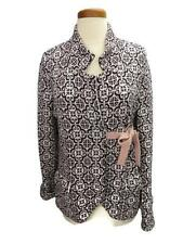 Odd Molly Cardigan Sweater Brown White Size 2 Cotton Knit