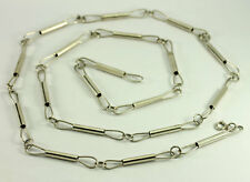 Vintage Navajo Sterling Silver Handmade Bar Link Chain Necklace 35.75""