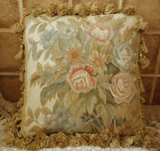 """15"""" Chic Shabby French Country Cottage Decor Aubusson Pillow Pink Blue Rose"""