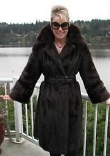 Mahogany MINK Coat FUR LONG BROWN Jacket M L #714A WOW!