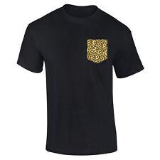 Mens Leopard Animal Pocket Print Printed T-shirt S-XXL