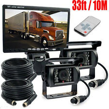 "Car Truck Reversing Camera Kit 7"" Sunshade Monitor 2x 4pin CCD IR Backup Camera"