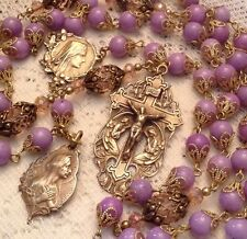 Rosary ~ Violet Jade ~ 8mm ~ Antique Bronze Design ~ Handmade ~