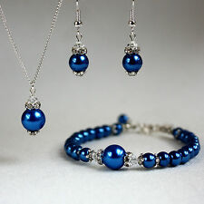 Dark blue pearls crystals necklace bracelet wedding bridesmaid jewellery set