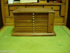 ancienne layette d'horloger petit meuble 9 tiroirs cadranier médaillé