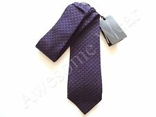 New Ralph Lauren Black Label Italy 100% Silk Handmade Dark Purple Geo Print Tie