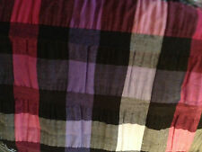 "Sewing Craft 53"" Poly Cotton Pink Black Purple Plaid Check Stretch Fabric BTY"