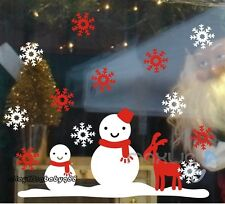 Christmas Happy Snowman Reindeer Snowflake Wall Decals Window Sticker Kids Decor