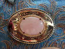 NEW HANDCRAFTED PINK ROSE QUARTZ GOLD METAL BELT BUCKLE WESTERN COWBOY UNISEX