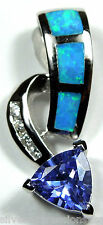 Tanzanite & Blue Fire Opal Inlay 925 Sterling Silver Pendant For Necklace