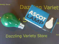 10 x Ascot 60W GREEN BC B22 Coloured Lamp Light Bulb 240V UK Made Vintage