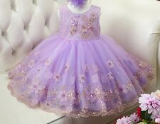 2017 Sleeveless Sequins Flower Girl Dress Toddler Party Ball Gown 2-12T