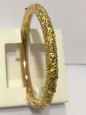 Very beautiful 18K Yellow Gold engraved dragon & phoenix Bangle bracelet 56mm