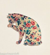 Vintage Floral Print Style CAT Retro Kitsch Quirky Cute Acrylic Pin Badge Brooch