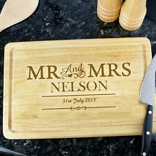Personalised Mr & Mrs Chopping Board 5th Anniversary Wedding New Home ANY MESSGE