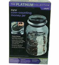 $95 PLATINUM COLLECTION NEW US COINS DIGITAL COIN-COUNTING MONEY JAR CLEAR LCD
