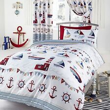 NAUTICAL SEA SHIPS SINGLE DUVET SET WHITE BOATS BEDDING