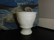 (829)  Keen Industries Small Milk Glass Vase Grapes and Leaf Design