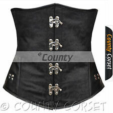 Underbust Steel Boned Lacing V Shape Black Brocade/Real Leather Corset Korsett