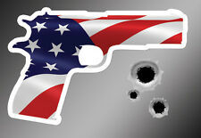 1911 Gun Shaped American Flag Sticker - FREE BULLET HOLES Vinyl Decal Patriotic