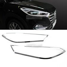 Chrome Front Head Light Lamp Cover Molding Trim for Hyundai 2016-2017 Tucson TL