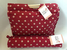 Knitting Bag Sewing Bag with Matching Needle Holder  Burgundy With Beige Spot
