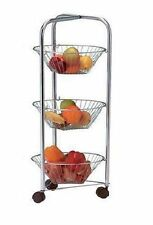 3 Tier Round Chrome Vegetable Fruit Storage Trolley Rack Stand Basket Kitchen