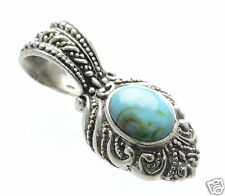 Solid 925 Sterling Silver Antique Style Oval Cut Turquoise Cabochon Pendant '