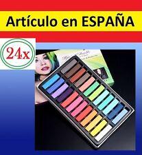 24 TIZAS COLORES pintar el PELO no toxicas pastel colorear color cabello lavable
