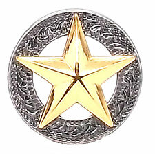 "Texas Star Silver with Gold Star Screwback Concho 1"" 11373-43"