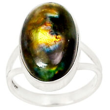 Spectrolite Labradorite From Finland 925 Silver Ring Jewelry s.8 RR19020