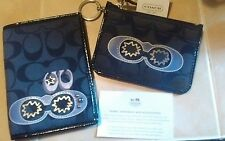 COACH Black Sateen Applique w/Patent Leather ID Holder/Passport/Card Holder RARE