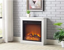 White Electric Fireplace Heater Realistic Flame Apartment Living Room Bedroom