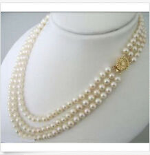 New 3 ROWS 7-8MM White Akoya Cultured Pearl Choker Necklace