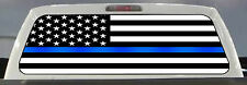 THIN BLUE LINE POLICE SUPPORT AMERICAN FLAG PICKUP TRUCK REAR WINDOW DECAL TINT