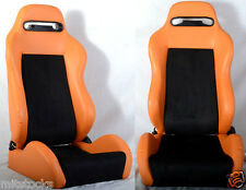 NEW 2 ORANGE & BLACK RACING SEATS RECLINABLE W/ SLIDER ALL CHEVROLET *