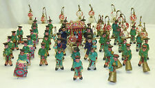 Antique 37 Pc Chinese Wedding Carriage Procession Miniature Clay Mud Figurines