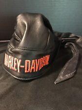 Genuine HARLEY DAVIDSON Hat DO RAG SKULL CAP BLACK LEATHER L/XL 1995
