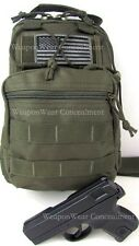 HEAVY DUTY GREEN Tactical SLING Go Bag Gun Concealment Bug Out Gear Bag Holster