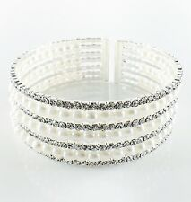 USA Pearl Bracelet Rhinestone Crystal Bangle Cuff Wedding Bridal Silver White 02