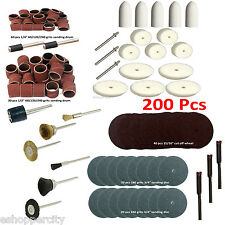 "200 Pc Rotary Power Tool Set 1/8"" Shank Sanding Polish Accessory Felt"